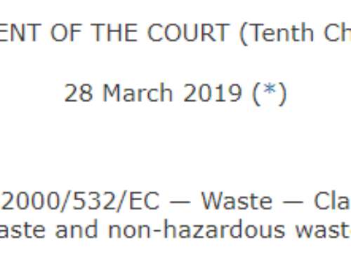 New European Court of Justice Judgment on hazardous waste classification